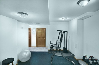 Work-out Room created in Basement Remodel