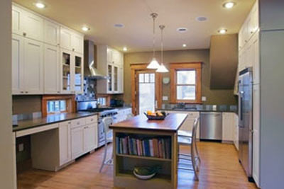 Kitchen Remodel with added island that includes shelving