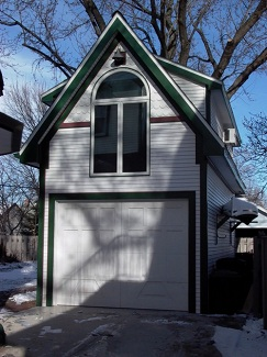 Garage Addition as old carriage house with upstairs office